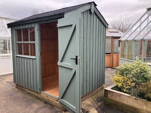 1.8 x 2.4m Felbrigg National Trust Shed at Nottingham painted in Terrace Green
