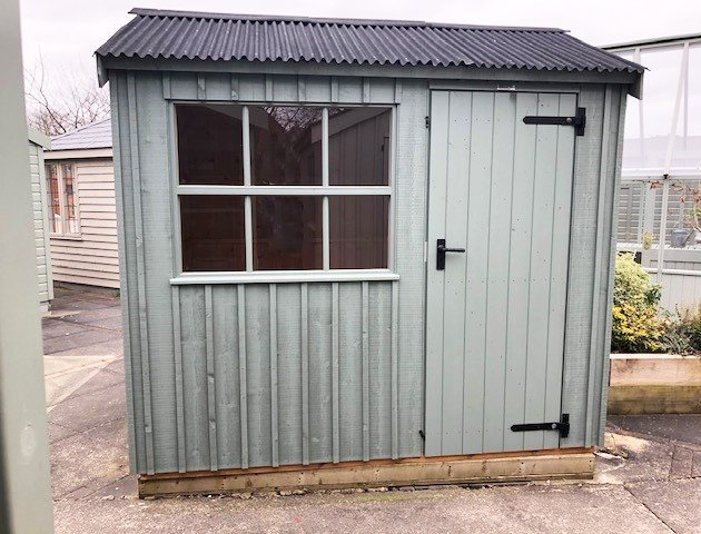 1.8 x 2.4m Felbrigg National Trust Shed painted in Terrace Green at Nottingham