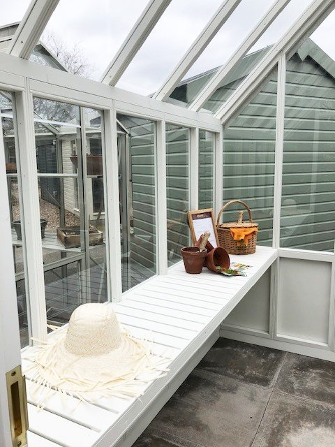 1.8 x 2.4m Greenhouse at Nottingham in Exterior Ivory Paint