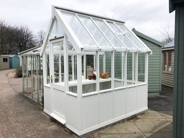 Nottingham's 1.8 x 2.4m Greenhouse in Exterior Ivory Paint