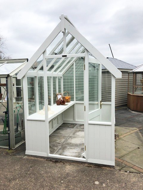 1.8 x 2.4m Greenhouse in Exterior Ivory Paint at Nottingham
