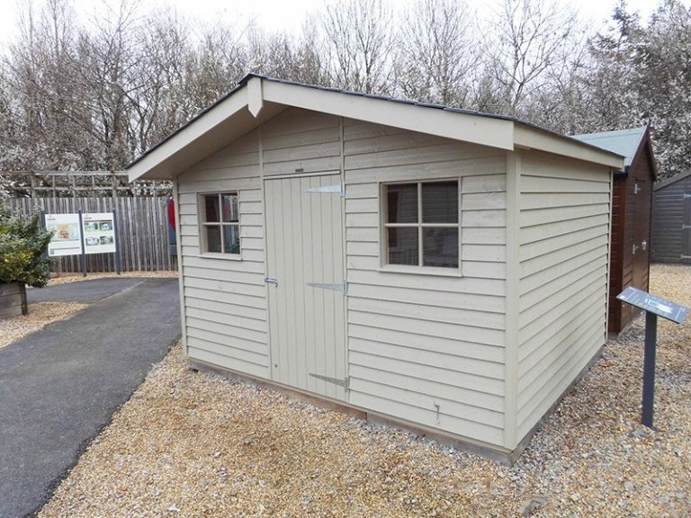 Burford's 3.6 x 3.0m Superior Shed painted in Farrow & Ball Light Gray