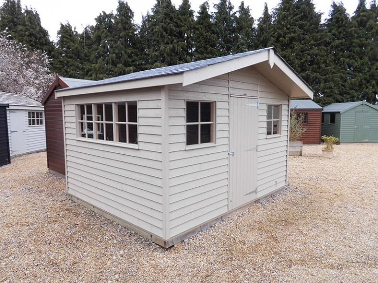 3.6 x 3.0m Superior Shed painted in Farrow & Ball Light Gray at Burford