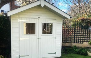 2.4 x 2.4m Superior Shed in Exterior Sandstone Paint with attractive apex roof overhang