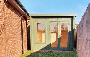2.4 x 3.0m Classic Office Painted in Classic Moss with stylish pent roof design