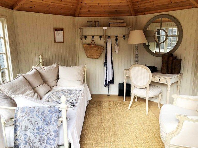 Inside Cranleigh's 3.6 x 3.6m Wiveton Summerhouse with Farrow & Ball Shadow White Lining