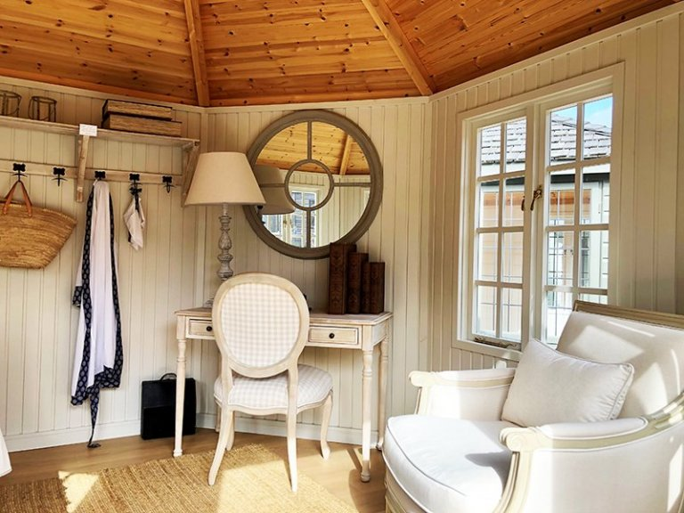 Interior of Cranleigh's 3.6 x 3.6m Wiveton Summerhouse with Farrow & Ball Shadow White Lining