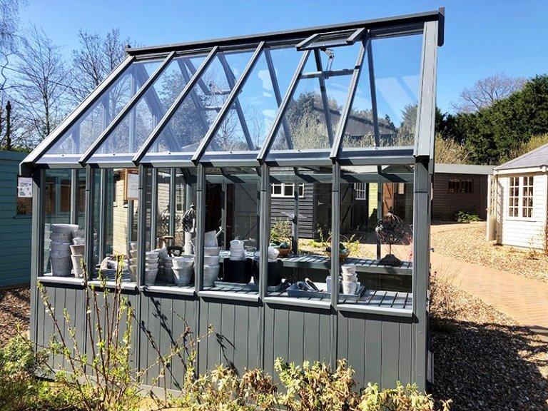 Cranleigh's 2.4 x 3.0m Greenhouse in Farrow & Ball Down Pipe