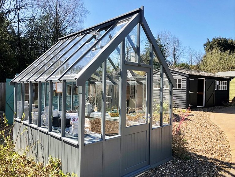 2.4 x 3.0m Greenhouse at Cranleigh in Farrow & Ball Down Pipe