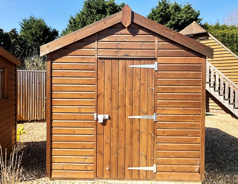 Cranleigh's 2.4 x 3.0m Superior Shed in Sikkens Walnut