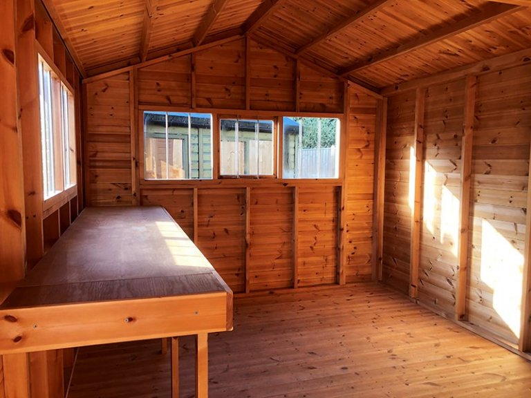 Inside Cranleigh's 3.0 x 4.8m Superior Shed in Sikkens Grey