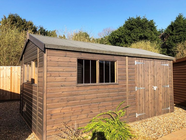 Cranleigh's 3.0 x 4.8m Superior Shed in Sikkens Grey