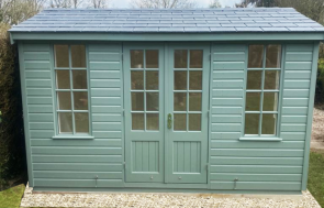 2.4 x 3.6m Holkham Summerhouse in Exterior Sage Paint with Grey Slate Effect Roof Tiles