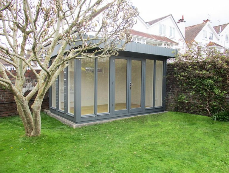 2.4 x 3.9m Salthouse Studio in Farrow & Ball Down Pipe with Pent Roof Design