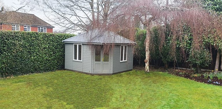 3.6 x 3.6m Weybourne Summerhouse Painted in Ash with Ivory Windows