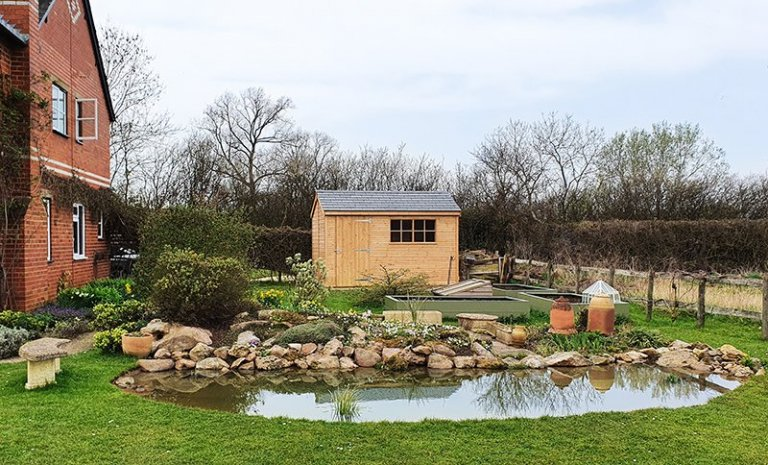2.4 x 3.6m Superior Shed in Light Oak Preservative with Apex Roof