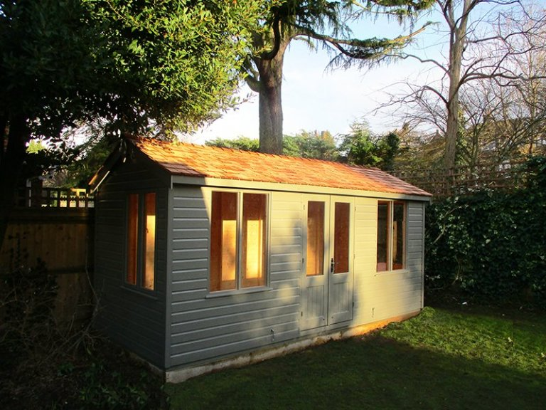 2.1 x 5m Holkham Summerhouse in Exterior Ash Paint with Cedar Shingle roof tiles