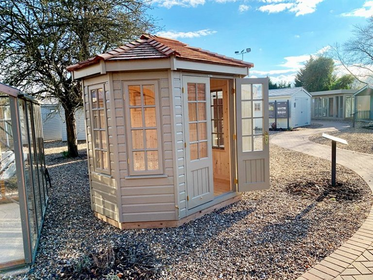 St Albans' 1.8 x 2.5m Wiveton Summerhouse in Exterior Taupe Paint