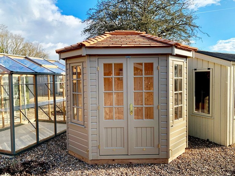 1.8 x 2.5m Wiveton Summerhouse at St Albans in Exterior Taupe Paint