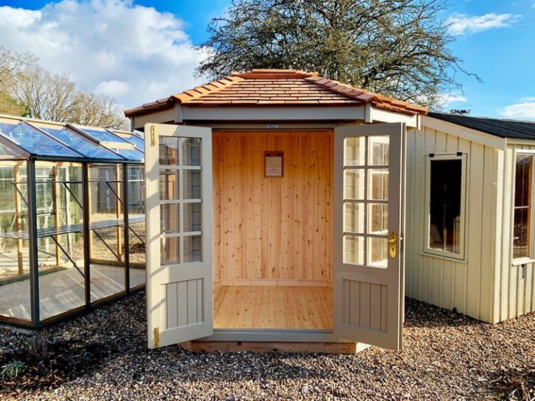1.8 x 2.5m Wiveton Summerhouse in Exterior Taupe Paint at St Albans
