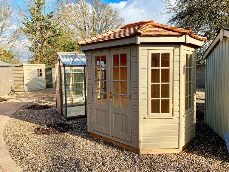Exterior of St Albans' 1.8 x 2.5m Wiveton Summerhouse in Exterior Taupe Paint
