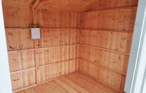 Inside Sevenoaks' 2.4 x 3.6m Blickling National Trust Shed Painted in Wades Lantern with unlined interior