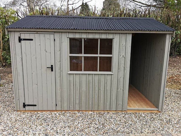Sevenoaks' 2.4 x 3.6m Blickling National Trust Shed Painted in Wades Lantern