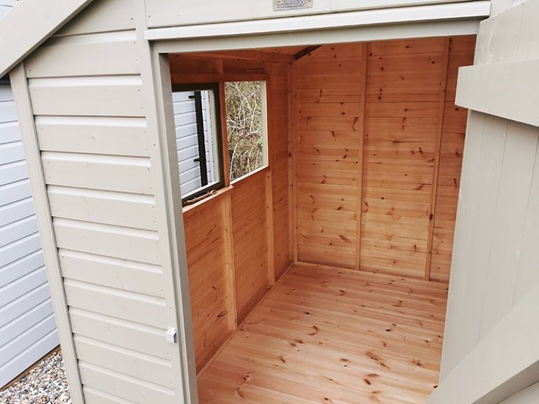 Inside Sevenoaks' 1.8 x 2.4m Classic Shed Painted in Classic Stone