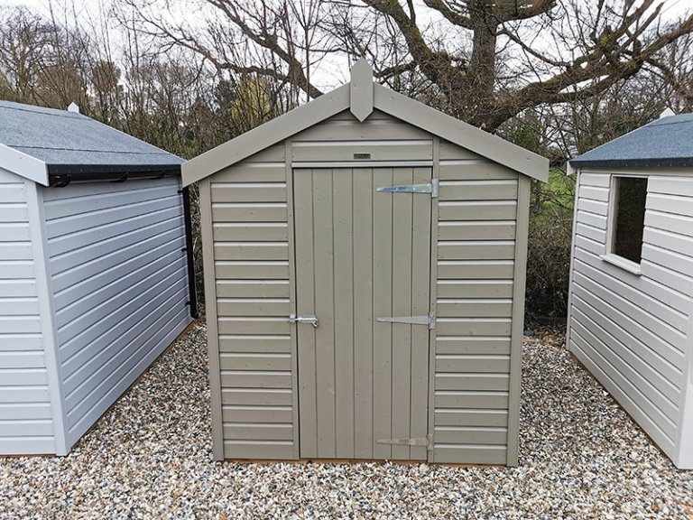 Sevenoaks' 1.8 x 2.4m Classic Shed Painted in Classic Stone