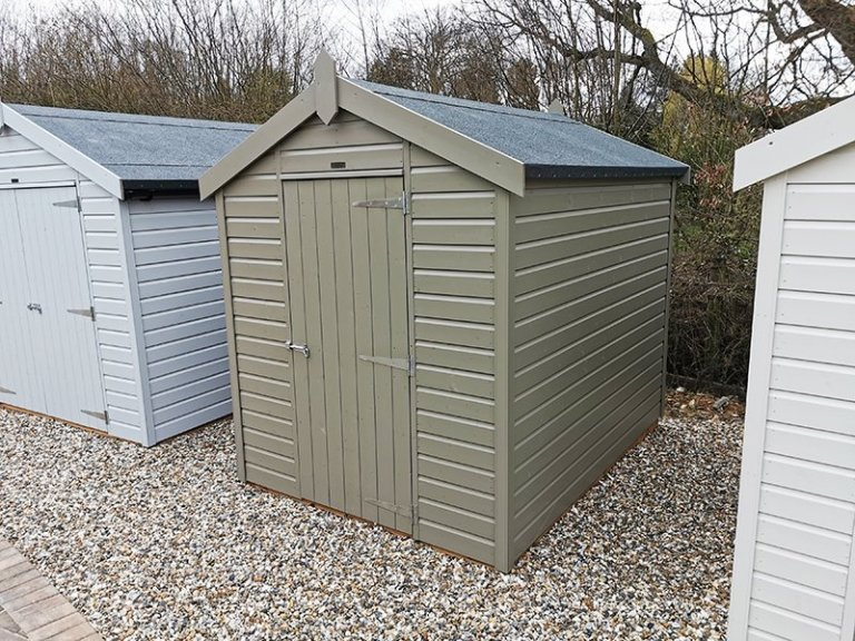 1.8 x 2.4m Classic Shed at Sevenoaks Painted in Classic Stone