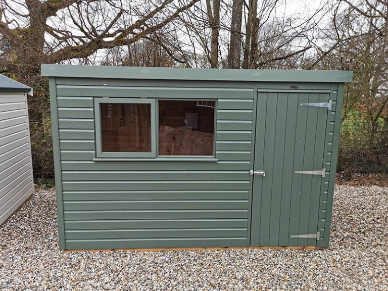 Sevenoaks' 1.8 x 3.0m Classic Shed Painted in Classic Moss