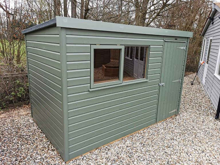 1.8 x 3.0m Classic Shed at Sevenoaks Painted in Classic Moss
