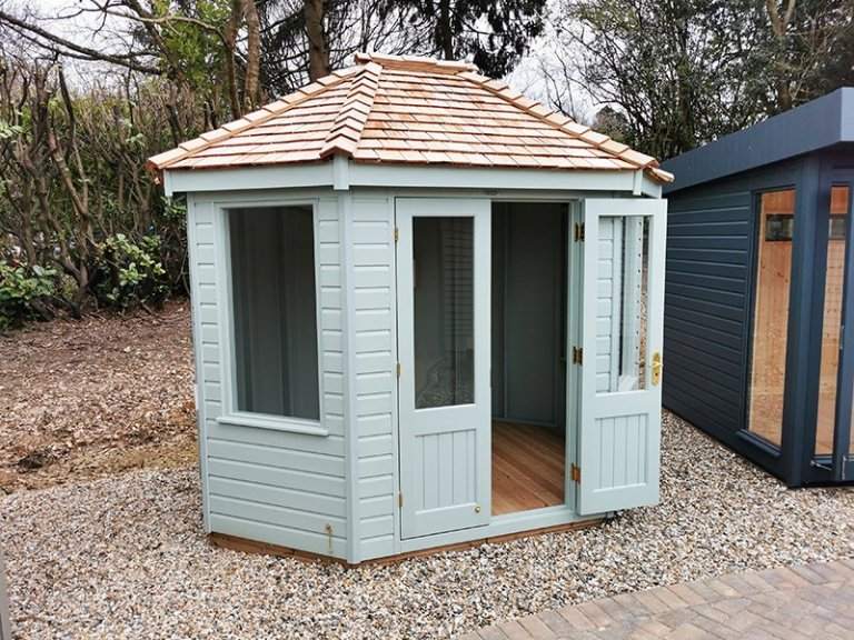 2.4 x 3.0m Classic Summerhouse at Sevenoaks Painted in Seagrass