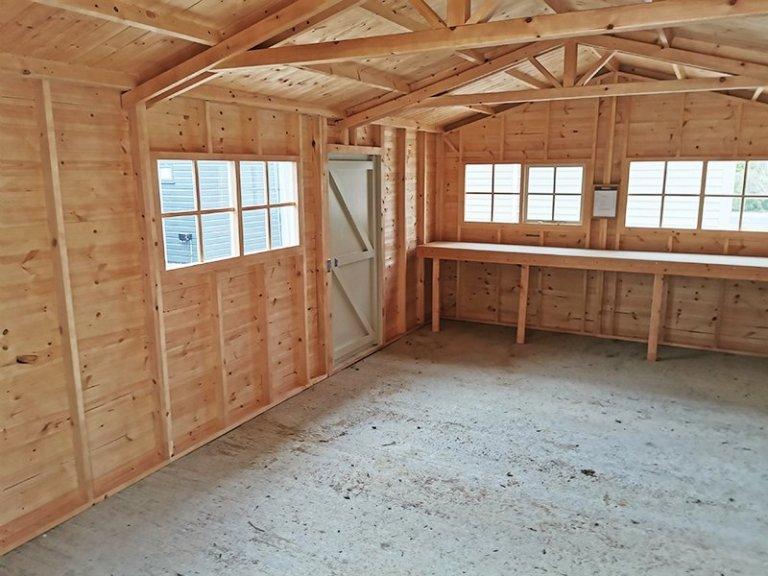 Inside Sevenoaks' 3.6 x 6.0m Garage in Exterior Sandstone Paint
