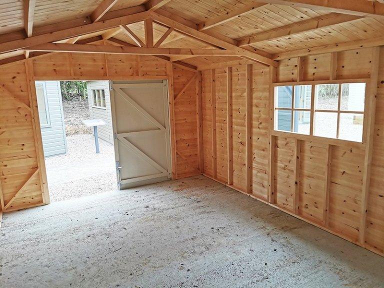 Interior of Sevenoaks' 3.6 x 6.0m Garage in Exterior Sandstone Paint