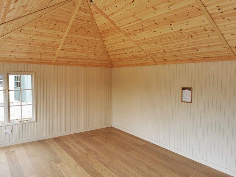 Inside Sevenoaks' 4.2 x 6.0m Garden Room Painted in Farrow & Ball Light Gray & Old White