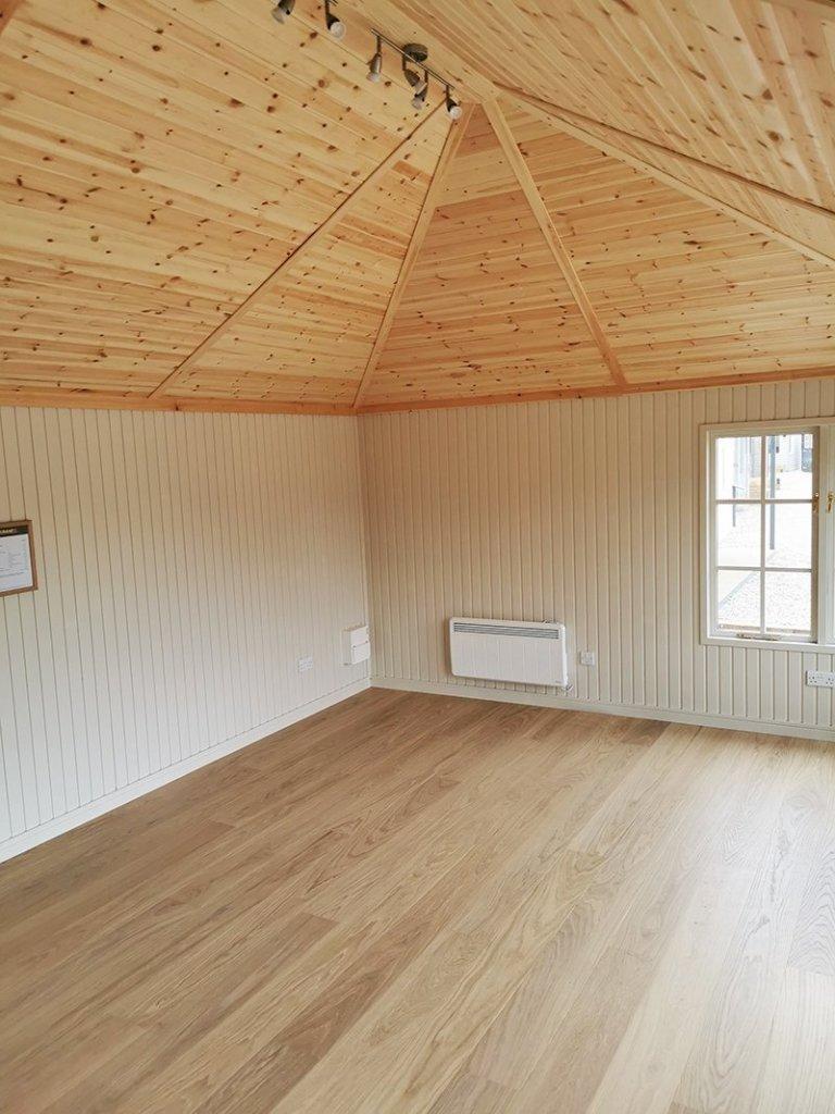 Interior of Sevenoaks' 4.2 x 6.0m Garden Room Painted in Farrow & Ball Light Gray & Old White