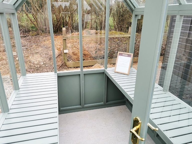 Inside Sevenoaks' 1.8 x 2.4m Greenhouse Painted in Farrow & Ball Card Room Green