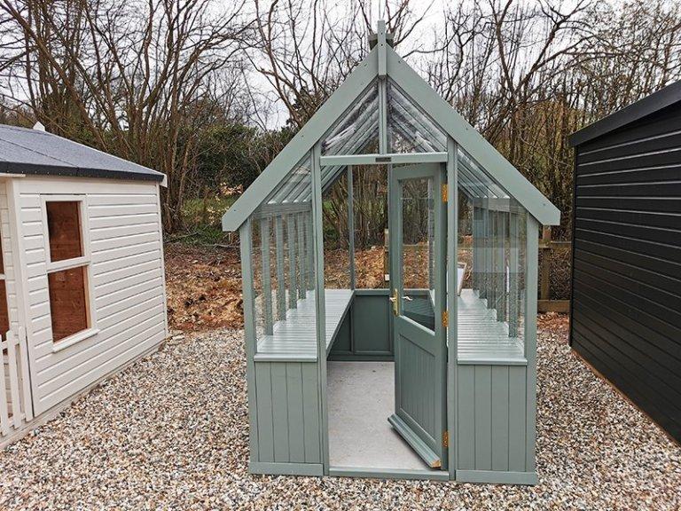 Sevenoaks' 1.8 x 2.4m Greenhouse Painted in Farrow & Ball Card Room Green
