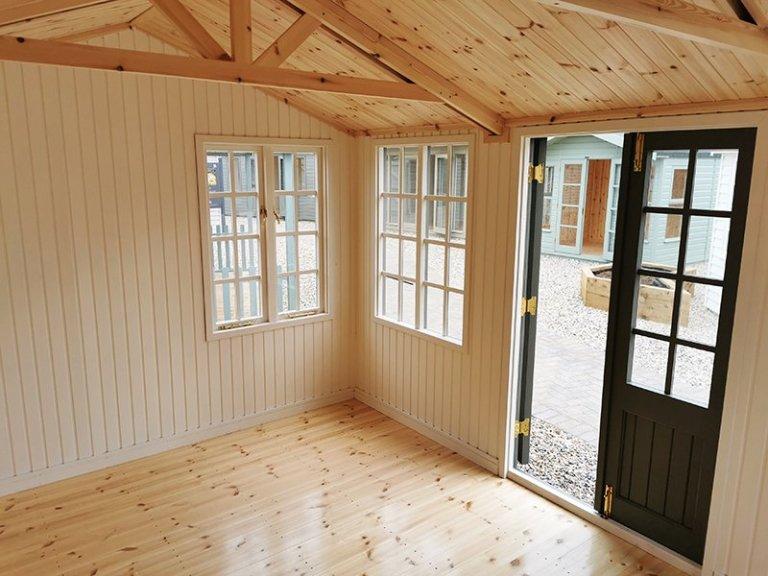 Interior of Sevenoaks' 3.0 x 4.2m Holkham Summerhouse in Exterior Ash Paint