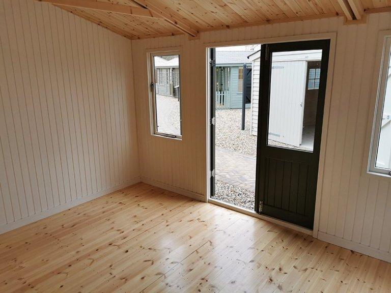 Inside Sevenoaks' 3.6 x 4.2m Langham Studio in Exterior Ash Paint