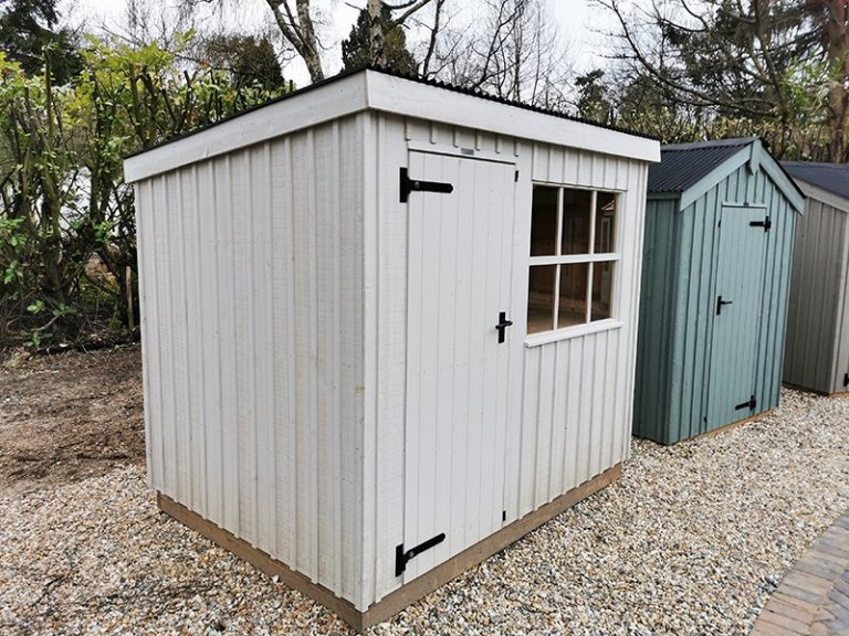 1.8 x 2.4m Oxburgh National Trust Shed Painted in Earls Grey