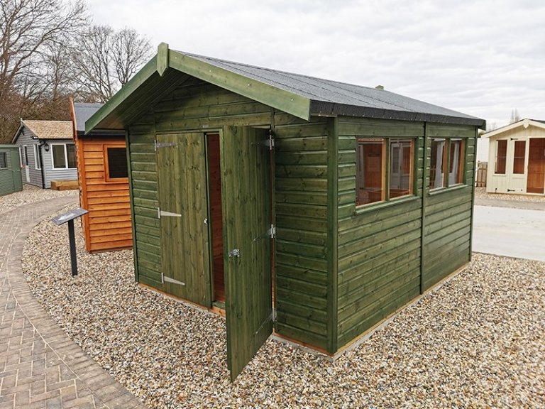 3.0 x 3.6m Superior Shed at Sevenoaks Treated with a Green Sikkens Wood Stain