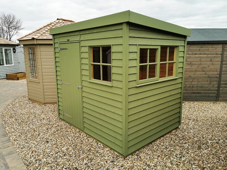 1.8 x 2.4m Superior Shed at Sevenoaks in Exterior Lichen Paint