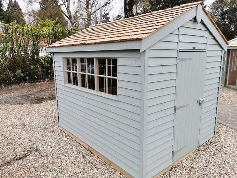 2.4 x 3.0m Superior Shed Painted in Farrow & Ball Pigeon