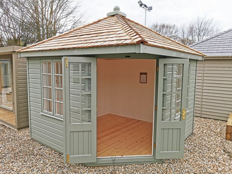 3.0 x 3.0m Weybourne Summerhouse in Exterior Lizard Paint