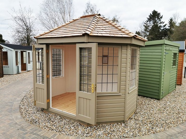 2.4 x 3.0m Wiveton Summerhouse at Sevenoaks in Exterior Taupe Paint