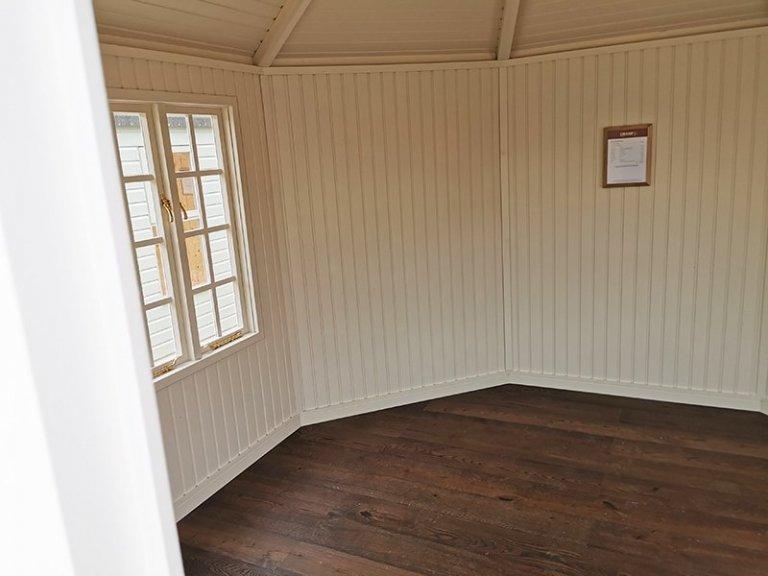 Inside Sevenoaks' 3.6 x 3.6m Wiveton Summerhouse Painted in Wimbourne White