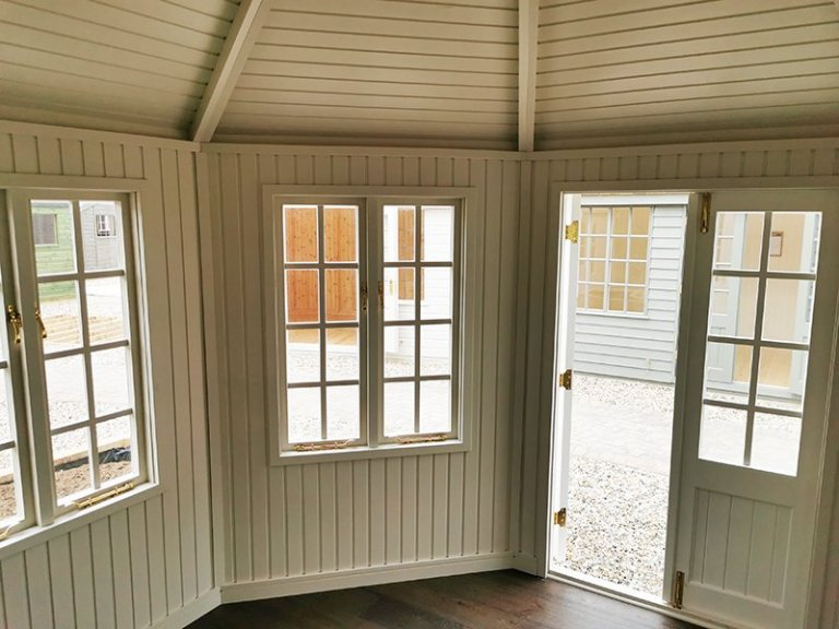 Interior of Sevenoaks' 3.6 x 3.6m Wiveton Summerhouse Painted in Wimbourne White