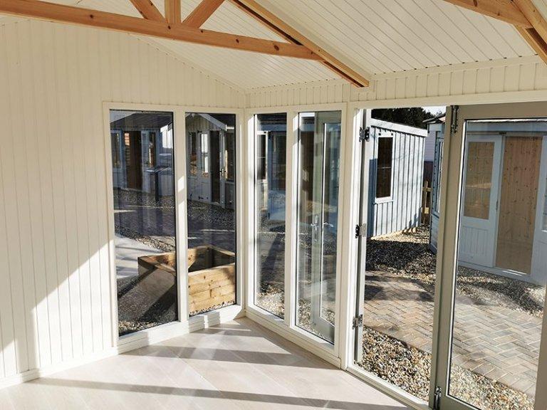 Inside Sevenoaks' 3.0 x 4.2m Burnham Studio in Exterior Pebble Paint